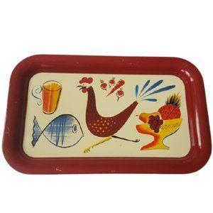 Vintage 70s decorative metal tray